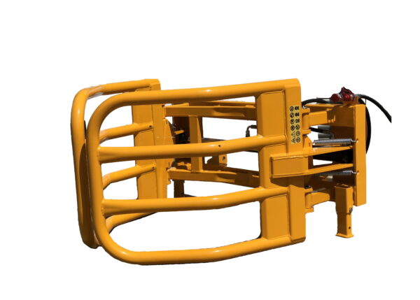 Tractor loader soft hands silage, wrapped bale handler. Designed to not damage wrapped bales and allows them to be stanked on their ends to prevent deformation.