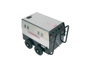 Catalogue image of a Cleanwell SS14 Hot Steam Cleaner, the pressure washer is powered by electric and heated using diesel and can generate 150 degrees Celsius.