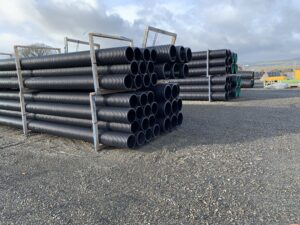 Piles of Naylor Twinwall Water drainage pipes
